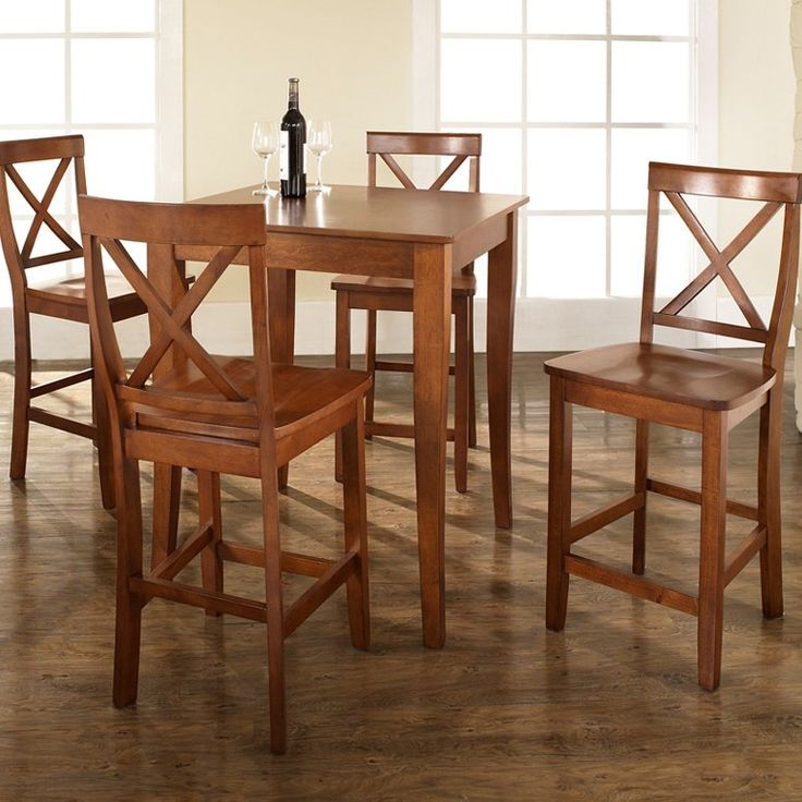 Have to have it. Crosley 5-Piece Pub Dining Set with Cabriole Leg and X-Back Stools - $509 @hayneedle