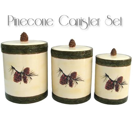 Incroyable Cool Pine Cone Canister Set Rustic Cabin Decorrustic Kitchen With Pinecone  Kitchen Accessories