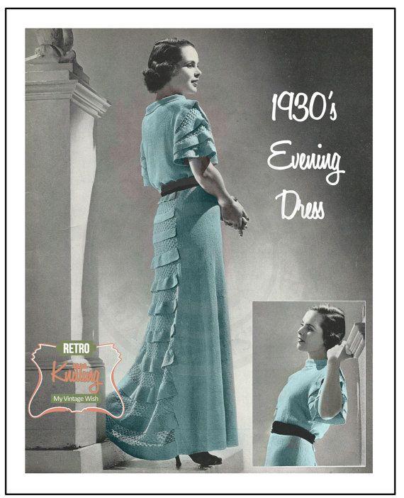 1930's Evening Dress Knitting Pattern - PDF Instant Download Pattern - PDF…