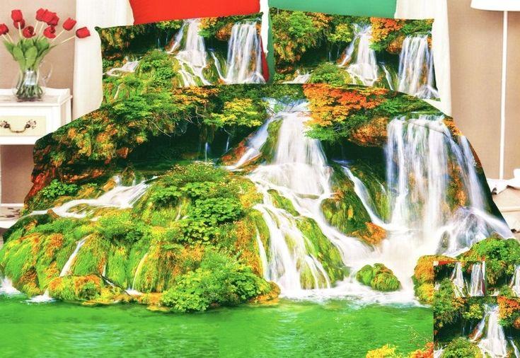 Zelené ložní povlečení s lesními vodopády