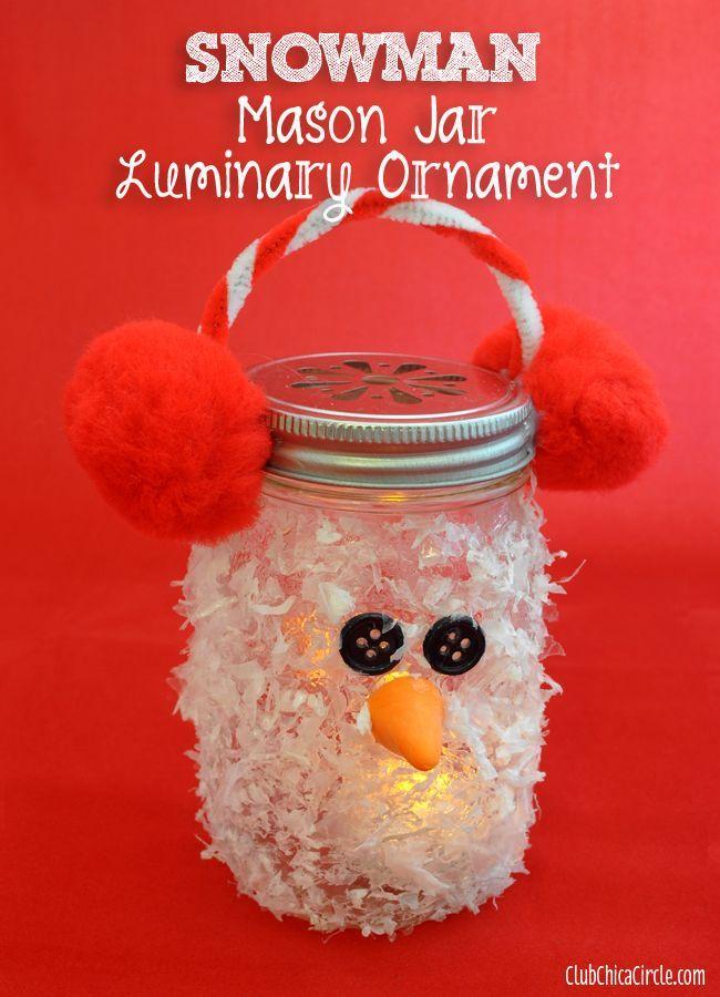 Snowman Mason Jar Luminary Ornament Craft Idea |