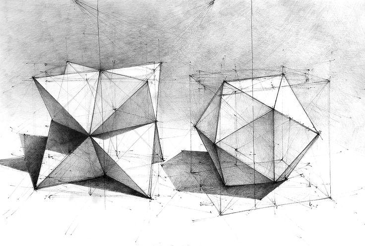 DOMIN Poznań - geometry drawing. Pencils, 35x50cm./ Rysunek geometrii. Ołówek + cienkopisy, 35x50  https://www.facebook.com/domin.poznan