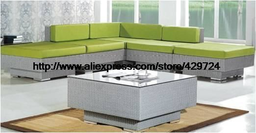 899.00$  Watch now - http://alijsz.worldwells.pw/go.php?t=32602139301 - Garden Furniture Modern L Shaped Green Rattan Sofa Table Set Factory Direct Sale Furntiure Low Price 2016 New Sofa Furniture 899.00$