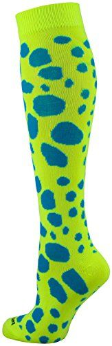 Krazisox - Leopard Over the Calf Socks (Neon Yellow/Electric Blue, Medium)  Made in USA  Moisture Control, Blister Control  Lightweight, Double Welt Top  Heel/Toe Design For Comfort  Shoe Size: Small fits Youth 12-5; Medium fits Mens 6-9 or Womens 7-10; Large fits Mens 9-12 or Womens 10-13
