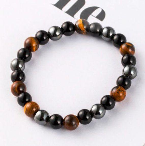 Mens Gemstone Bracelet Black Onyx Tiger Eye Hematite Gemstone