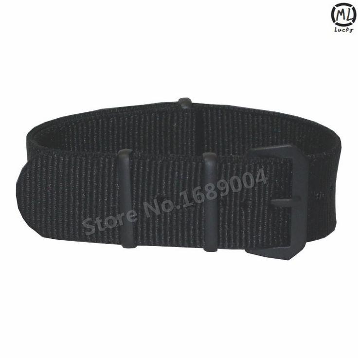 Черный ремешок для часов 20 мм сплошной черный военный нато ткань нейлон часы ремешки тканые зулу ремни группы черный пряжки ремня 20 мм