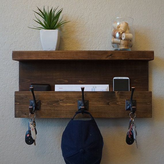 Handmade coat rack mail organizer shelf with dark bronze hooks. Perfect for any home entryway, apartment, or condo.  Made of solid wood. It has been