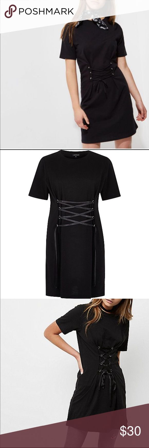 River Island black t-shirt dress w/ corset detail Brand new dress, never worn, without tags. River Island Dresses Mini