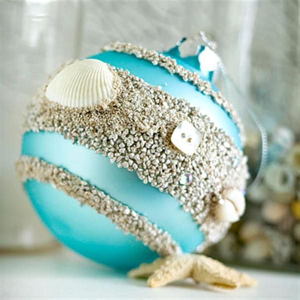 homemade Christmas ornaments - using beach sand and shells - Perfect to remember hawaii this year                                                                                                                                                      More