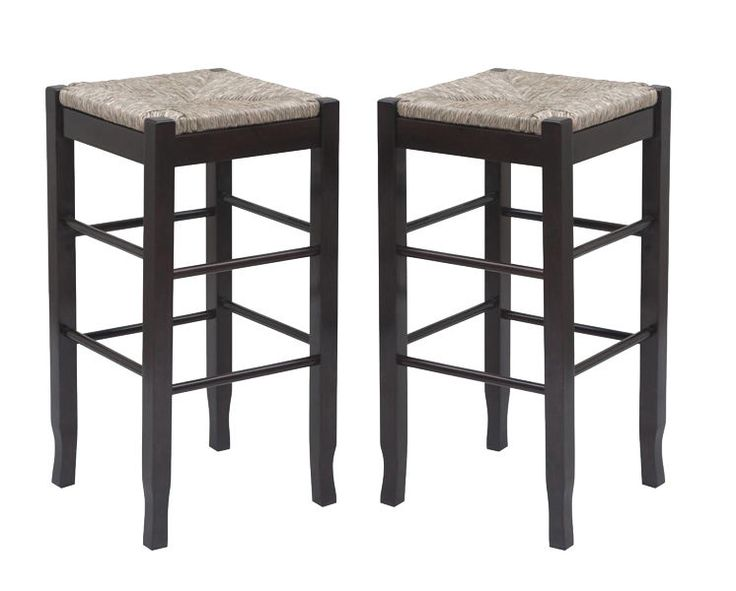 2 Bar Stools Woven Seat Hardwood Espresso Set Wicker Rush
