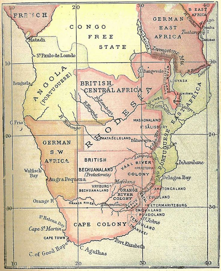 map of southern Africa c. 1896
