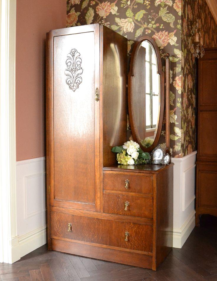 おしゃれなアンティーク英国家具、大きな鏡付きのホールローブ (k-988-f)