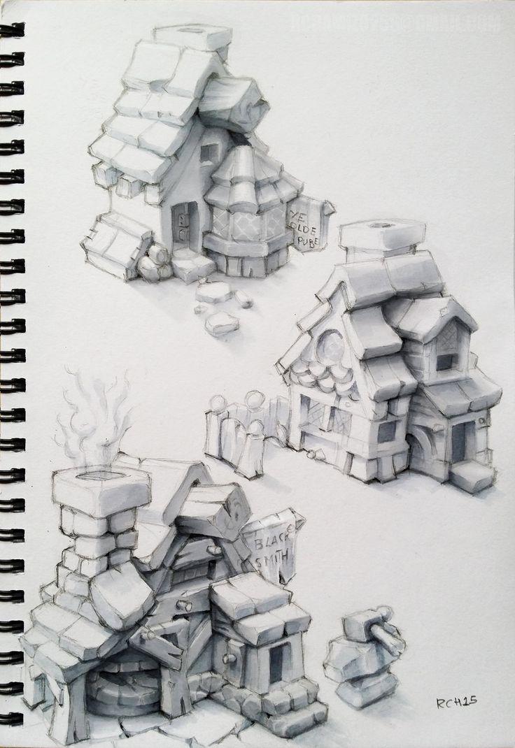 Town Houses, Ricardo Chamizo on ArtStation at https://www.artstation.com/artwork/town-houses