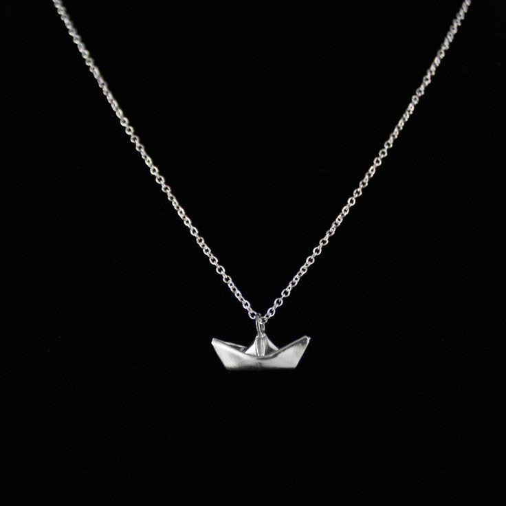 Origami_Boat_necklace_Fine_Silver_boat_pendant_Handmade_pendant_foldit_Creations_1