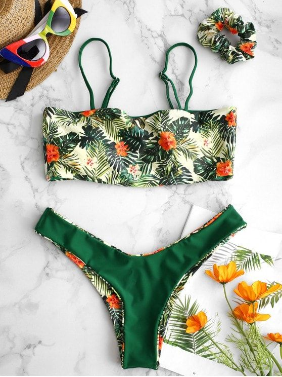 5c2e16a80 Reversible Flower Leaf Bikini Set with Hairband em 2019