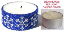 SNOWFLAKES BEADED TEA LIGHT CANDLE COVER by Suzanne Cooper
