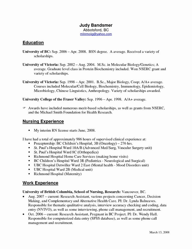 Best  New Grad Nursing Resume Ideas On   New Grad