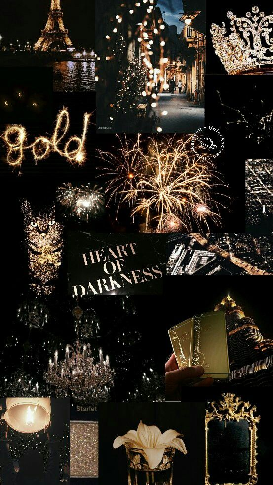 collage ~ aesthetic ~ black ~ gold ~ firework ~ text ~ night ~ sky ~ lights ~ ci…