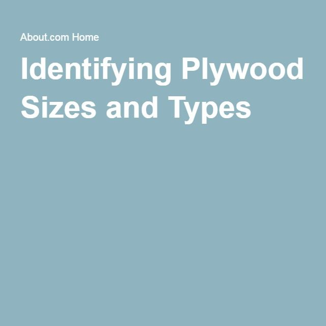 Identifying Plywood Sizes and Types