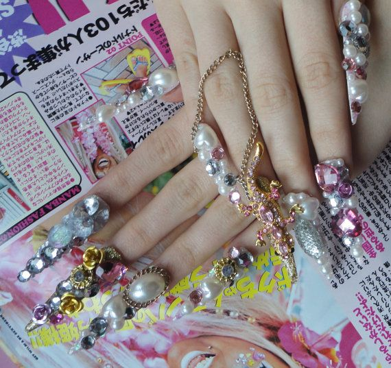 Pink Queen Hime Kawaii Deco Bling Gyaru Princess Nails