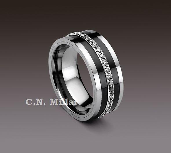 Tungsten Carbide Rings with black Diamonds | Eternity Tungsten Carbide Ring-CRTU249JB