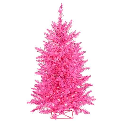 2 ft Pre-Lit Artificial Christmas Tree with Metal Stand and Pink LED Lights