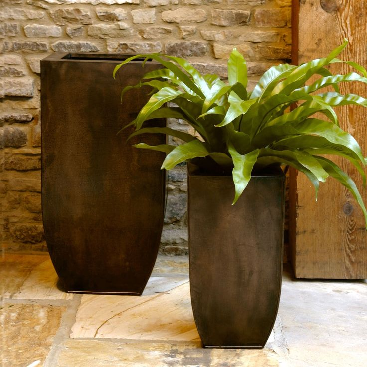 Elegant Napa Home And Garden Square Copper Zinc Narrow Planter Set  Contemporary Outdoor Planters