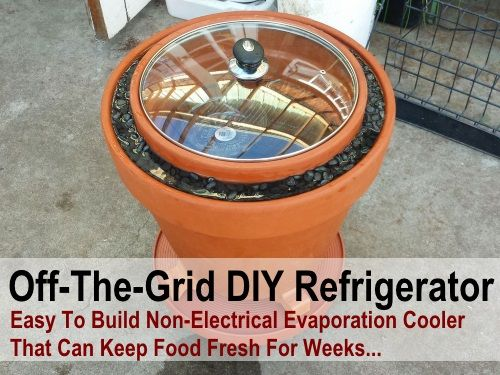 Off The Grid Easy To Build DIY Refrigerator... Easy to Build Non-Electrical Evaporation Cooler that can keep food fresh for weeks... This is good to know even if you don't need it... in case of emergency... I am sure I have posted something like this but I also like the way they put the pan lid on it...