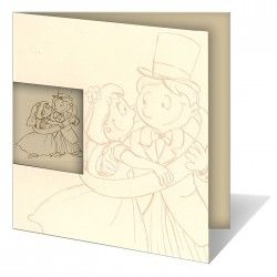 An elegant invitation from the newest collection. The ecru cover is metallic, it has an embossed beige dancing couple.   On the left there is a window through which an identical couple, on the inside of the invitation can be seen. The text is printed directly on the cover.
