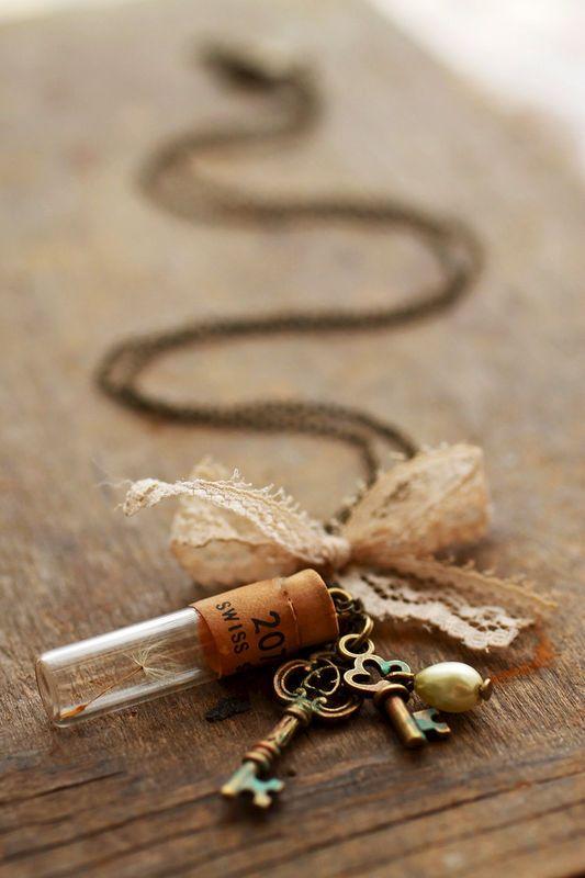 Dandelion wish charm necklace - bottle, skeleton key and lace - product images  of