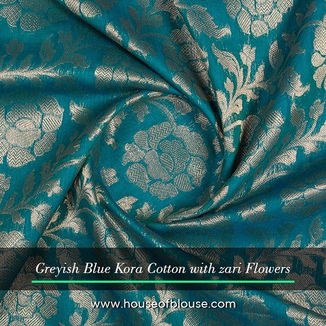 Fabriclove A rich looking fabric in Kora cotton. Customise some pretty blouses this wedding and holiday  season #houseofblousedotcom #fabriclove #zari #floral #blue #cotton #season #wedding