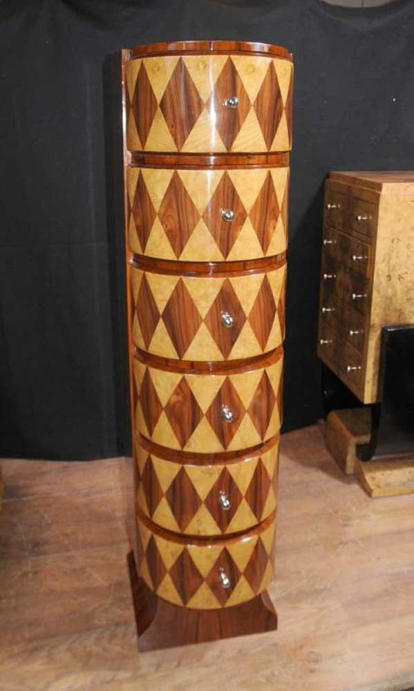 art deco furniture 1920s. slim art deco inlay chest drawers tall boy 1920s furniture c