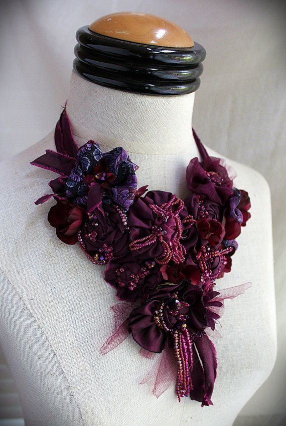 SHIRAZ Burgundy Purple Beaded Textile Statement by carlafoxdesign