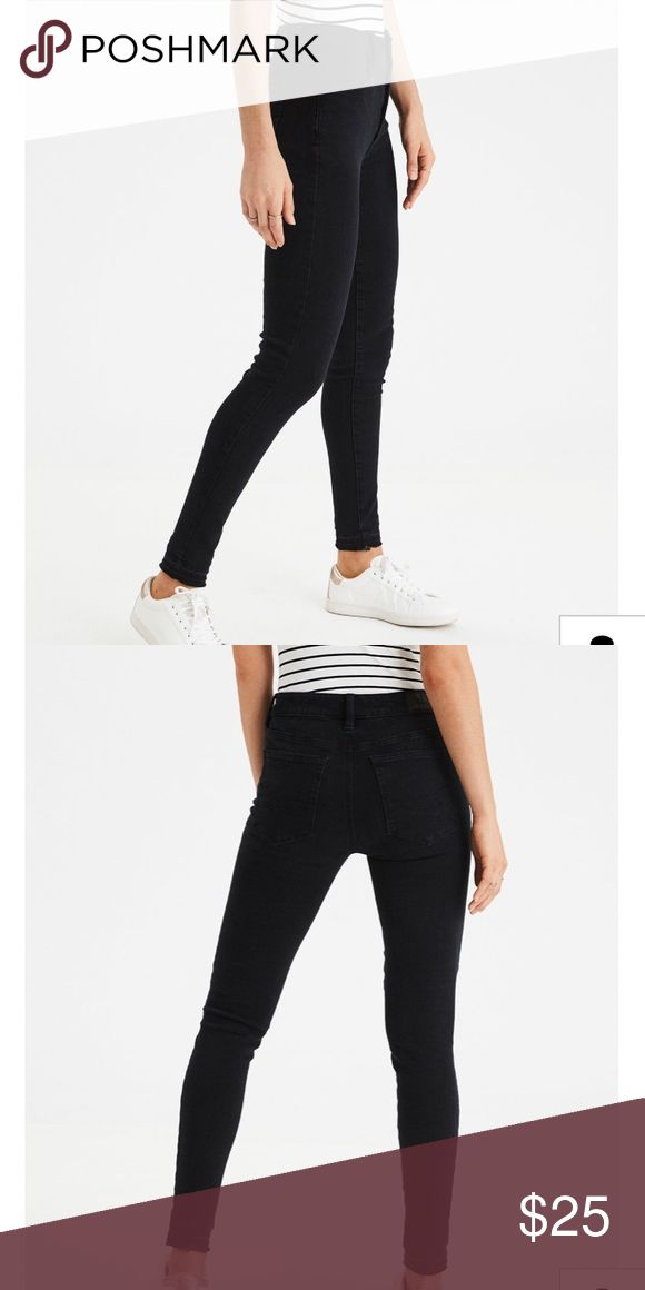 High-waisted skinny jeans/jeggings Literally could pair it with everything. Only worn twice and washed once. American Eagle size 4 Regular, Rich Onyx color American Eagle Outfitters Jeans Skinny