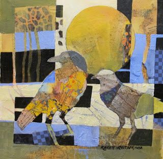 KAREN KNUTSON: I started by randomly placing collage papers on Arches Cold Press paper. Then I drew the birds and negative painted around them, using acrylics.