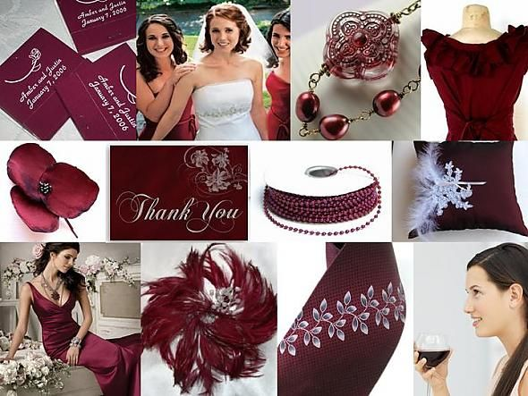 Inspiration Board: Burgundy, Silver & White. Found on Weddingbee.com Share your inspiration today!