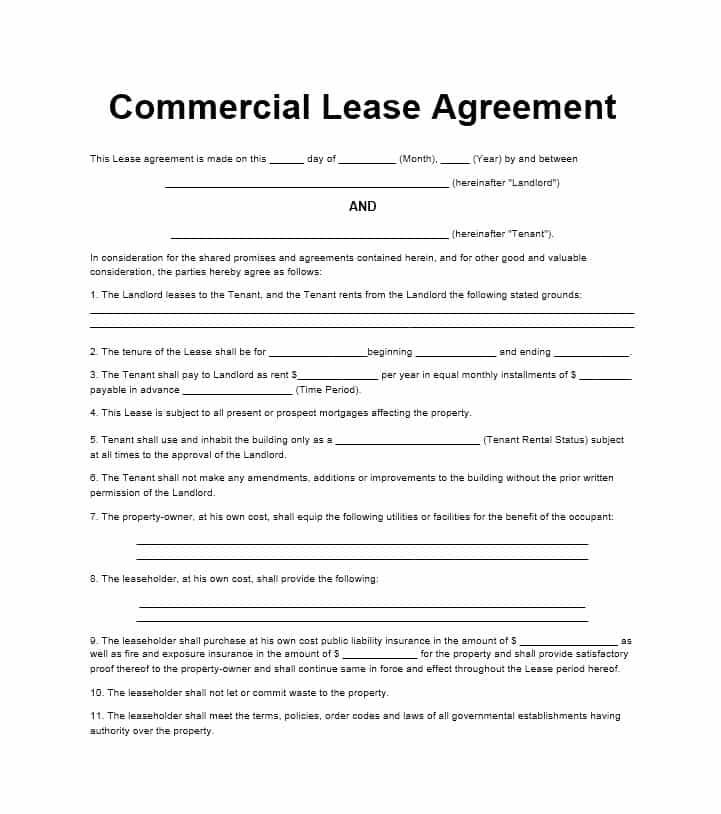 Simple Commercial Lease Agreement Template Pinterest Template