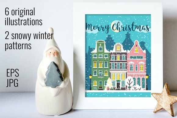 Christmas city street landscapes by primula on @creativemarket
