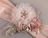 Champagne Blush, Ivory, Gold & Peach Bridal Sash Belt With Lace Applique - Lace Bridal Sash