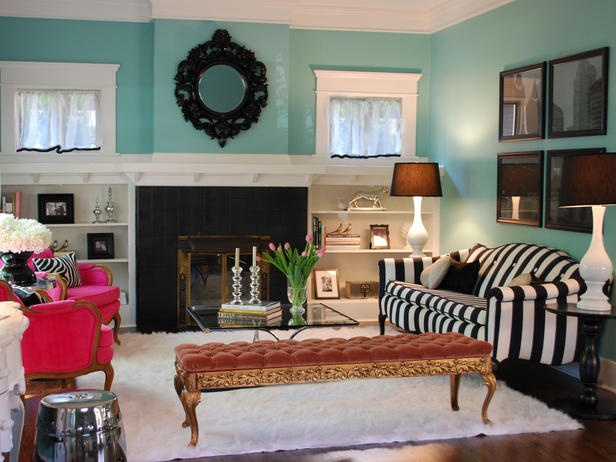 Tiffany Blue And Black Stripes Striped CouchEclectic Living RoomLiving