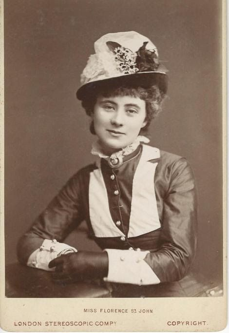 Florence St. John, 1855 - 1912. 56; She was a very well known English singer and actress. She was famous for her roles in operetta, musical burlesque, music hall, opera and comic plays.