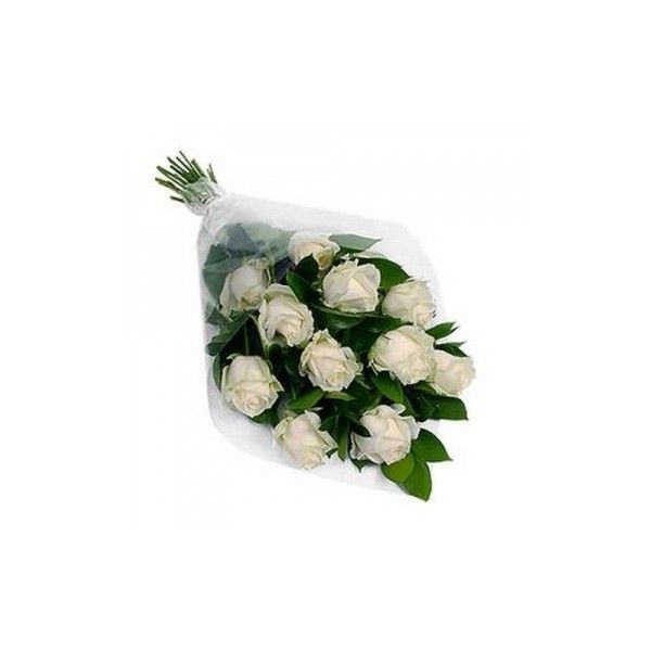 12 White Roses Bunch via Polyvore featuring home, home decor, floral decor, white home decor, rose home decor and white home accessories