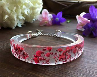 Vero e proprio fiore braccialetto, resina braccialetto, bracciale di istruzione, premuto fiore gioielli, regalo, regalo per lei, regali fidanzata, terrario braccialetto