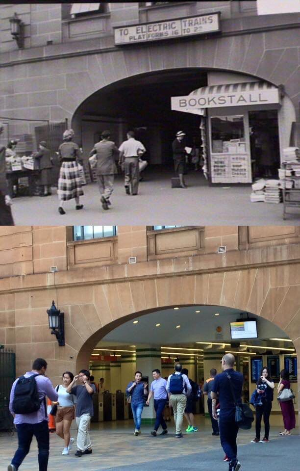 The Eddy Avenue entrance to Central Station in 1953 and in 2016. [1953 - State Library NSW>2016 - Phil Harvey. By Phil Harvey]