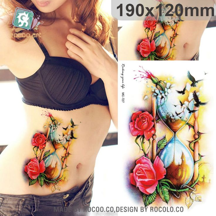 Indah tahan air sementara tato untuk pria wanita 3D rose burung MC2727 corong desain besar stiker tato Pengiriman Gratis