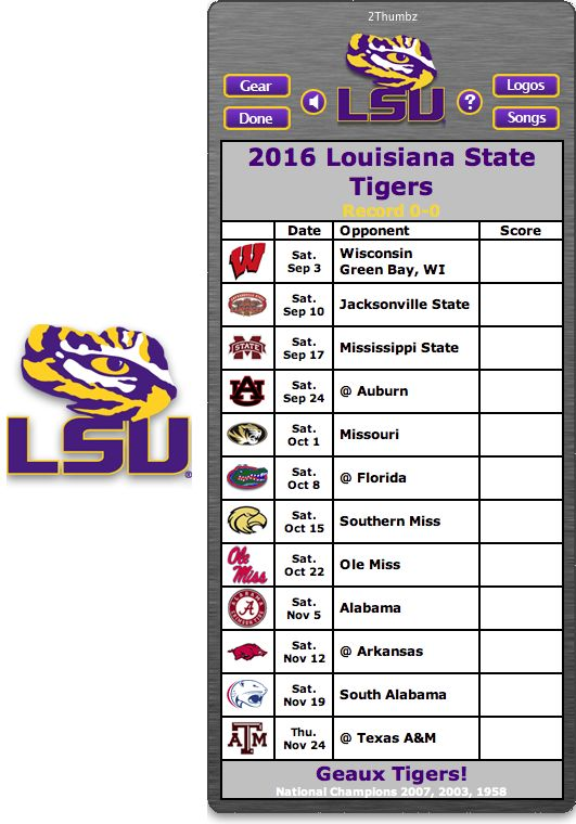 Get your 2016 LSU Tigers Football Schedule Mac App for Mac OS X - Geaux Tigers!  http://2thumbzmac.com/teamPages/Louisiana_State_Tigers.htm