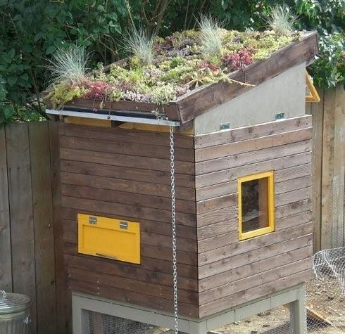 21 Positively Dreamy Chicken Coops: Urban Loft Coop with Roof Garden - I love how they maximized the space.