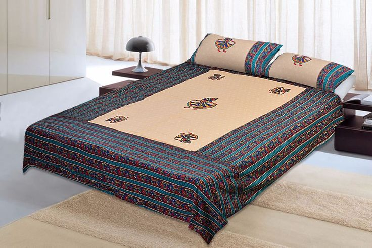 Bed Sheet Cotton King Bed Sheet Bed Spread with 2 Pillow Cover Flat Bed Sheet #Unbranded #Asian