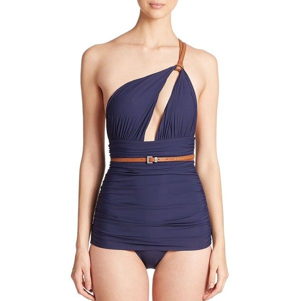 Michael Kors Collection One-Piece Belted One-Shoulder Swimsuit ($415) ❤ liked on Polyvore featuring swimwear, one-piece swimsuits, apparel & accessories, indigo, one shoulder one piece swimsuit, one piece swim suit, michael kors bathing suits, cut out swimsuit and ruched one piece swimsuit
