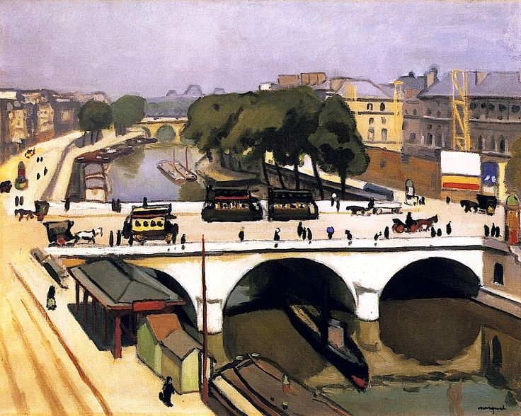 Albert Marquet.  The Pont Saint-Michel in Paris, The Quai des Augustins, 1908.